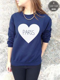 Paris Cute Jumper Sweater Top Love Heart TUMBLR Hipster Fashion Homies t-shirt french pretty rhianna