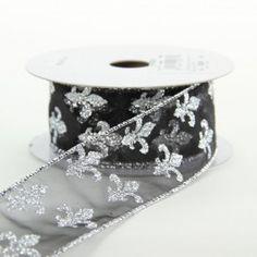 Sheer Glittered Fleur de Lis Ribbon