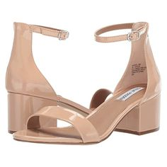 For the Stuart Weitzman 'NearlyNude' Block Heel Sandals in Adobe Patent Leather