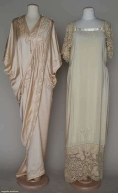 Two 1910 boudoir items: (1) pink charmeuse peignoir w/pink and pale green embroidery, floor length and (2) cream China silk negligee, cream embroidery and silk Irish crochet sleeve and hem trims.