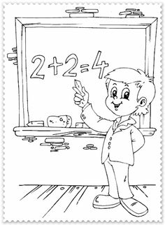schoolboy adding on chalkboard coloring page Short Blue Hair, School Clipart, Cool Coloring Pages, School Boy, Business For Kids, Book Activities, Sewing Crafts, Snoopy, Clip Art
