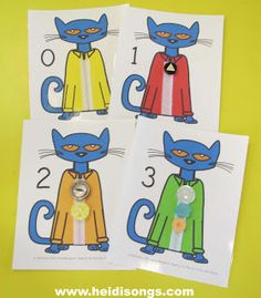 Pete the Cat - button sorting activity - match colors, match button shapes, count buttons