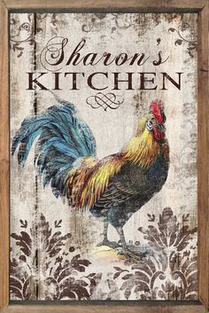 Personalized wooden rooster sign framed out in reclaimed wood Rooster decor Rooster sign custom signs Kitchen signs kitchen plaques Rooster Painting, Rooster Art, Rooster Decor, Tole Painting, Chicken Signs, Chicken Art, Farm Animals, Animals And Pets, Arte Do Galo