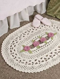 Lattice Rose: This beautiful free crochet pattern can be made as a rug or a doily! Skill Level: Intermediate