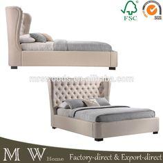 king tufted wing upholstered platform bed, french wing upholstery bed, upholstered platform bed