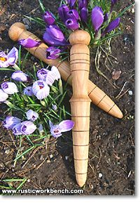 $15 - Gardener's Dibble - A dibble, also called a dibber or a dibbler, is a garden tool that makes planting seeds, seedlings and bulbs a joy. It makes holes in the soil to a consistent depth. I make these dibbles from any of several hardwoods. The material is always salvaged from items others have thrown away: baseball bats, table legs, tool handles, etc. They may be hickory, ash, teak, oak or maple.
