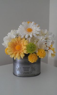 Sunny Yellow flower Arrangement, Floral Arrangement, Gerber Daisies, Hydrangea, Poms, Rose.   A great addition to your home decor! on Etsy, $37.00