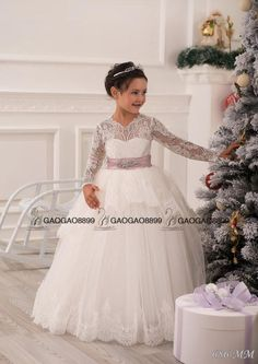 Long Sleeve Ball Gown Little Princess Girls' Gift Dresses Wedding Party Birthday Bridesmaid Holiday Ivory Lace Tulle Flower Girl Dress Little Girls Bridesmaid Dresses Little Girls White Dresses From Gaogao8899, $73.3| Dhgate.Com