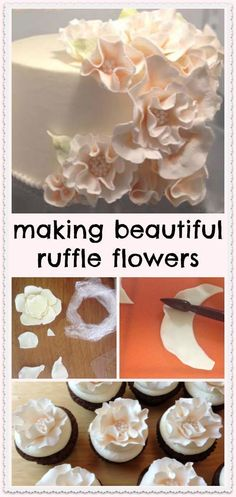 making beautiful ruffle flowers littledelightscakes.com. Cake decorating tips and tricks #caketutorial