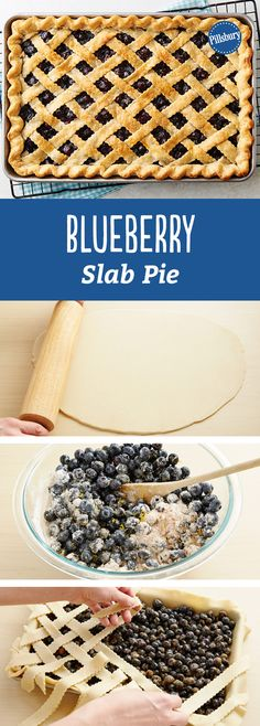Blueberry Slab Pie - Hands-down, the most beautiful blueberry pie we've ever seen/eaten. Learn how to do a perfect pie lattice with our how-to — it's way easier than it looks! Just Desserts, Delicious Desserts, Yummy Food, Pie Dessert, Dessert Recipes, Blueberry Recipes, Easy Blueberry Pie, Blackberry Pie, Pie Cake