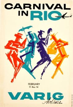 Carnival in Rio Varig, 1950s - original vintage poster listed on AntikBar.co.uk