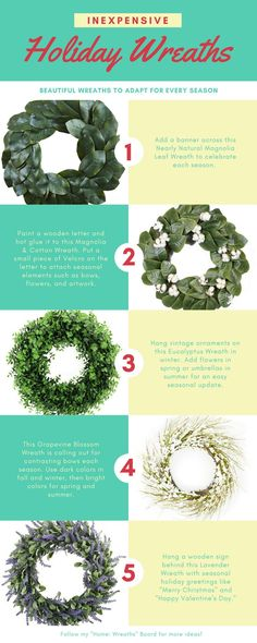 Looking for ideas to decorate your front door or home for the holidays? This list of wreaths will give you ideas to use the same wreath year-round for all holidays from Thanksgiving to Christmas to Easter to 4th of July. [affliliate link]