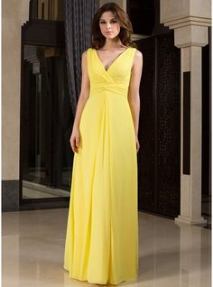 Vestidos princesa/ Formato A Decote V Longos De chiffon Vestido de madrinha com Pregueado