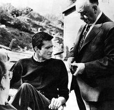 Alfred Hitchcock et Anthony Perkins sur le tournage de Psycho 1960