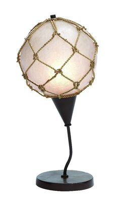 white table lamp angled cylindrer woven brown rope circles lamp