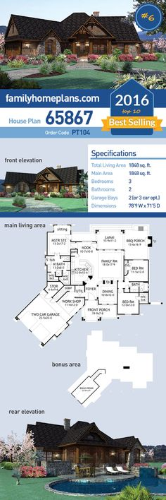 #6 of 2016's Top Ten Best Selling House Plans, Craftsman House Plan 65867 has 1848 SQ FT of living space, 3 bedrooms and 2 bathrooms. #topten #bestselling