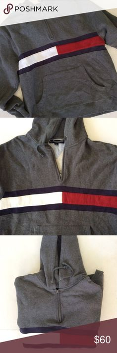 """TOMMY HILFIGER CLASSIC STRIPE HOODIE UNISEX Original classic Tommy red white and blue stripe grey pullover hoodie. This can be unisex. Super cozy comfortable hoodie sweatshirt. Drawstring at hood, ends of strings are frayed. Banded sleeve cuffs and hem. Loose boxy fit. Large front kangaroo pocket. No flaws, stains, rips, holes. Incredible hoodie. On trend and always classic Tommy!  All measurements are taken flat across and approximate. Chest/bust 23"""", sleeve 25"""", overall length 28. 1/4…"""