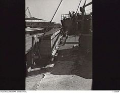 PORT MELBOURNE, VIC. 1946-02-21. THE PORT SIDE BOAT DECK OF THE KOEI (KOYEI) MARU LOOKING AFT. THE FORMER MINELAYER, STILL CREWED BY JAPANESE NAVAL PERSONNEL, HAD ARRIVED TO REPATRIATE 2800 ...