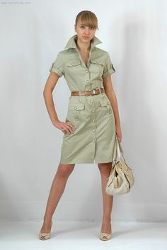 Casual Dress Outfits, Simple Outfits, Safari Elegante, Vestidos Safari, Jw Moda, Safari Look, Khaki Shirt Dress, Safari Dress, Nice Dresses