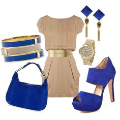 would probably not also pair the blue bracelets and blue purse. too much blue. maybe add a punch of red?