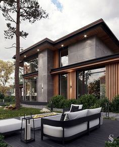 Modern House Facades, Modern Architecture House, Architectural Design House Plans, Architecture Design, Facade Design, Exterior Design, Modern Villa Design, Home Building Design, Dream House Exterior
