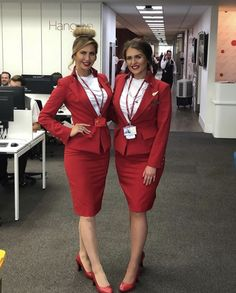 More attractive female airline crew, ground staff and flight attendants wearing uniforms with very tight skirts: . Tight Pencil Skirt, Tight Skirts, Corporate Women, Light Grey Suits, Sensible Shoes, Virgin Atlantic, Cabin Crew, Flight Attendant, Types Of Fashion Styles
