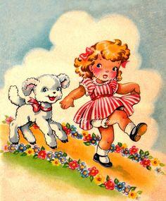 Mary Had A Little Lamb Vintage Digital by poshtottydesignz on Etsy, $2.50