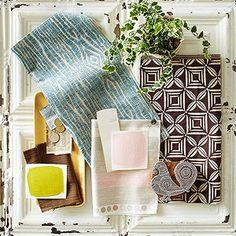 What a great colour palette idea. Neutral Color Scheme, Accent Colors, Color Schemes, Color Combinations, Benjamin Moore Linen White, White Washed Furniture, Chintz Fabric, Blue Ceilings, Paint Matching