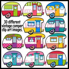 Vintage Camper Clip Art Retro Clipart By RebeccaBDesignShop