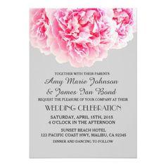 De elegante grijze roze uitnodigingen peony3 van