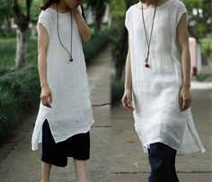 201 Thin Linen Layered Off-White Tunic / Robe White Dress por EDOA