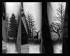 Freehand forest tattoo. Complete with a stag