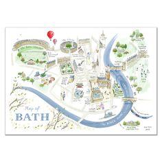 Map of Bath Print - Alice Tait Shop