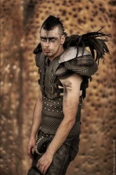 Football Shoulder Pads, found objects perfect for an apocalypse. Post Apocalyptic Costume, Post Apocalyptic Fashion, Apocalypse World, Wasteland Weekend, Dystopian Future, Hippie Man, Zoot Suits, Future Fashion, Mad Max