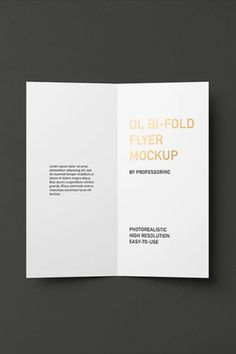 DL Bi-Fold Brochure / Flyer Mockup — Foil Stamping Edition photorealistic mock-up easy to use 7 layered PSD files high resolution: 4000×2667 px editable foil stamping layer changeable foil color changeable background flyer size: 9.9x21 cm perfect for dark, light and colorful design Flyer Size, Bi Fold Brochure, Free Photoshop, Free Graphics, Mockup Templates, Foil Stamping, Cards Against Humanity, Colorful, Dark