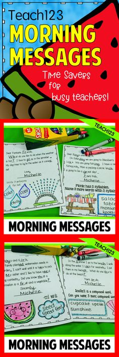 No Prep Morning Messages: Incorporate many skills in your morning messages. Great way to review important skills. Morning routine and tips are also included. Summer themed morning messages about the following topics:seashell, watermelon, sprinkler, ice cream, picnic, pond, swim, camp, summer, and sun. paid