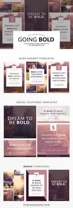 Going Bold 10 Piece Social Media Template Kit for Photoshop. Easy to edit templates (think click and replace) to make your images pin-worthy! . . .pinterest | social media | social media templates | photoshop templates | pinterest templates | instagram templates | facebook templates | pins | pin design | pinterest design