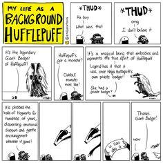 My Life As A Background Hufflepuff, by Emily McGovern Harry Potter Comics, Fanart Harry Potter, Images Harry Potter, Harry Potter Jokes, Harry Potter Fandom, Harry Potter World, Fandoms, Background Slytherin, Percy Jackson