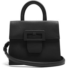 Maison Margiela Large buckle leather bag (9,740 MYR) ❤ liked on Polyvore featuring bags, handbags, shoulder bags, black, real leather purses, genuine leather purse, leather purses, structured handbags and structured leather handbags