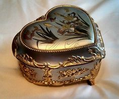 Sankyo Heart Music Jewelry Box Engraved Lillys & Butterfly