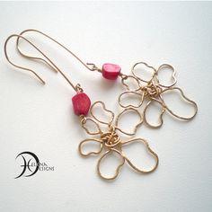 Goldfilled wire art flower & coral earrings by Helenadesignsart