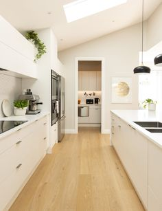 This couple razed their Hauraki house to its foundations and built a new Scandi-style family home in its place. Take a tour of this home here Home Kitchens, Spacious Kitchens, Kitchen Remodel, Kitchen Design, Kitchen Space, Kitchen, Kitchen Interior, Kitchen Style, Modern Kitchen Design