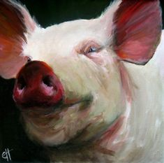 Or there is this Pig. happiest Pig Ever.    Pig Painting Parker the Pig - Canvas Giclee Reproduction of an Original Painting - 10x10.