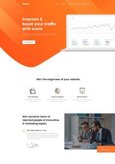 Score Digital Agency Landing Page – Inspire Design Orange Web, Blue Website, Web Mockup, Modern Website, Website Header, Modern Business Cards, Landing Page Design, Web Layout, Website Design Inspiration