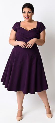 Make your next formal occasion even more special when you wear this Stop Staring! eggplant swing dress from Unique Vintage. With a look that's straight out of the 1950s, high quality construction and a fit that's perfectly modern, this dress does wonders on just about any girl's figure. It comes in a gorgeous deep eggplant shade that looks great against every complexion, and it's also made of a lovely stretchy material that is soft yet sturdy enough to keep you feeling fully supported. The…