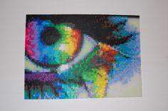 rainbow eye #1 perler bead art made by me - amanda wasend