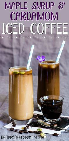 Ready for the best iced coffee recipe ever? Try this AMAZING Iced Maple Syrup Cardamom Coffee! The combination of cardamom and maple syrup is SO good. An awesome homemade coffee recipe! #cardamomcoffee #coffee #coffeerecipe #easycoffeerecipe #cardamom via @recipespantry