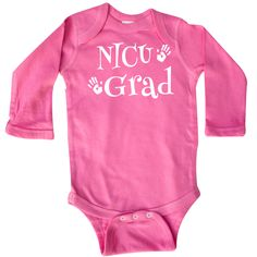 NICU Grad Long Sleeve Creepers has cute handprints logo for the neonatal unit graduate baby boy or girl newborn. $22.99 www.homewiseshopperkids.com