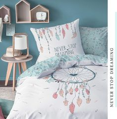 #bohostyle #mädchenzimmer #kinderzimmer #bettwäschemädchen #teenagerzimmer #bohodeko #traumfänger #dreamcatcher #neverstopdreaming #sprüchebettwäsche Never Stop Dreaming, Bohostyle, Throw Pillows, Home, Deko, Cushions, House, Decorative Pillows, Decor Pillows