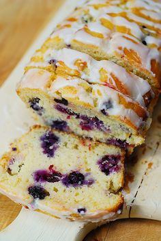 Blueberry bread with lemon glaze
